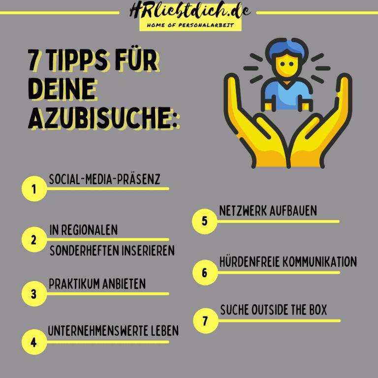 Azubi 7 Tipps in Aufzählungsform, dunkler Hintergrund, gelbe Schrift, kleines Symbol mit Händen, die Mensch halten