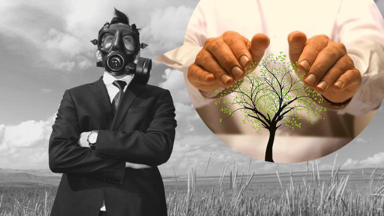Homeoffice Mann in Anzug mit Gasmaske in schwarz weiß auf Feld, Sprechblase mit Hände um einen grünen Baum in bunt