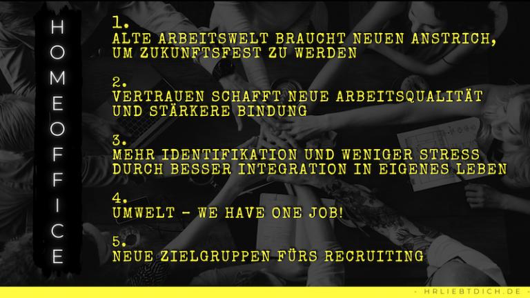 Homeoffice 5 Gründe dafür, schwarzer Hintergrund mit Händen, die sich in der Mitte berühren, Schrift in gelb