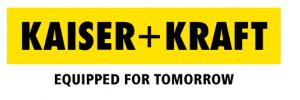 Homeoffice Kaiser+Kraft Logo schwarze Schrift, gelber Hintergrund