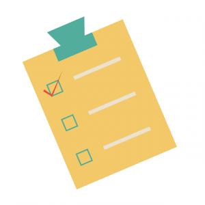 gelber Checkzettel To-to-List, erster Punkt abgehakt