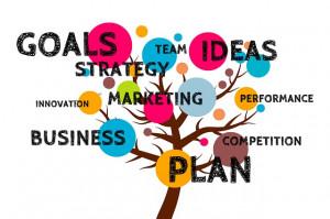 Wortbaum, bunte Kreise mit englischen Begriffe zur Unternehmenswebsite